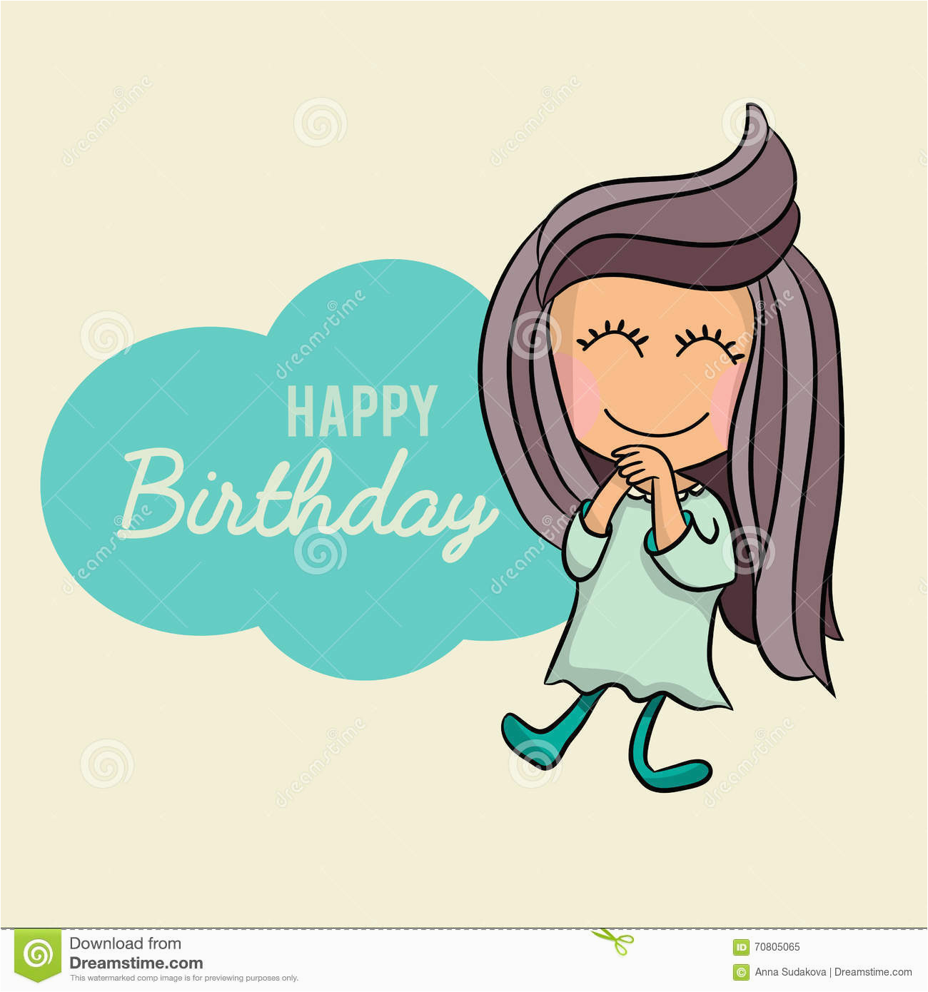 stock illustration cute happy birthday cartoon greetings card postcard poster vector character excited little girl having image70805065
