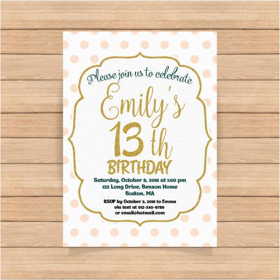 13th birthday invitation girl pink gold