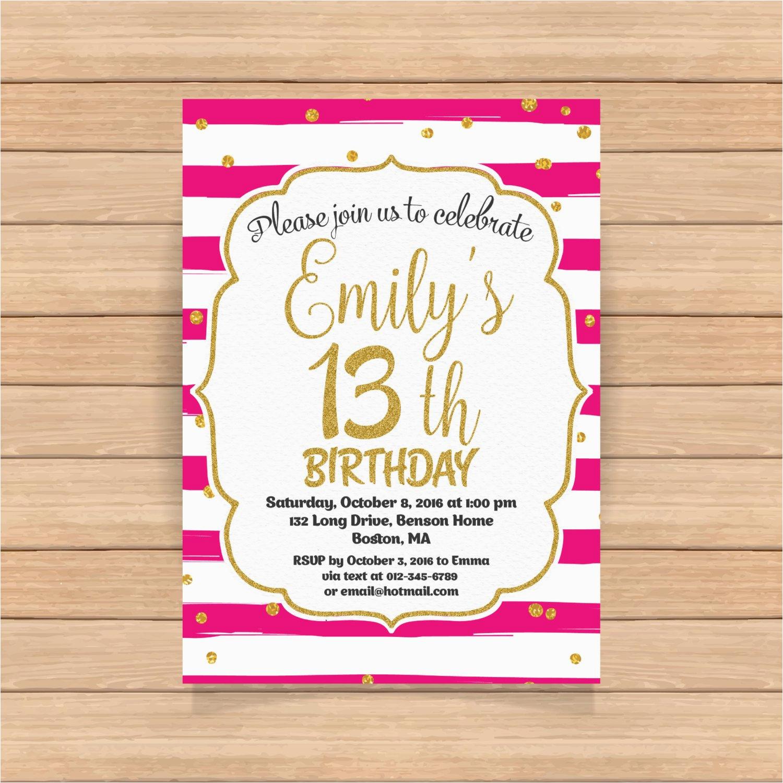13th birthday invitation thirteenth