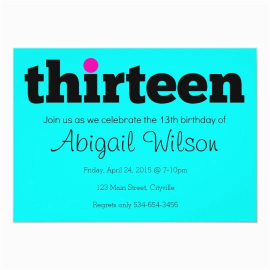 thirteen 13th birthday party invitation 161378415818189312