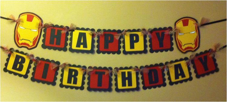 iron man inspired happy birthday banner