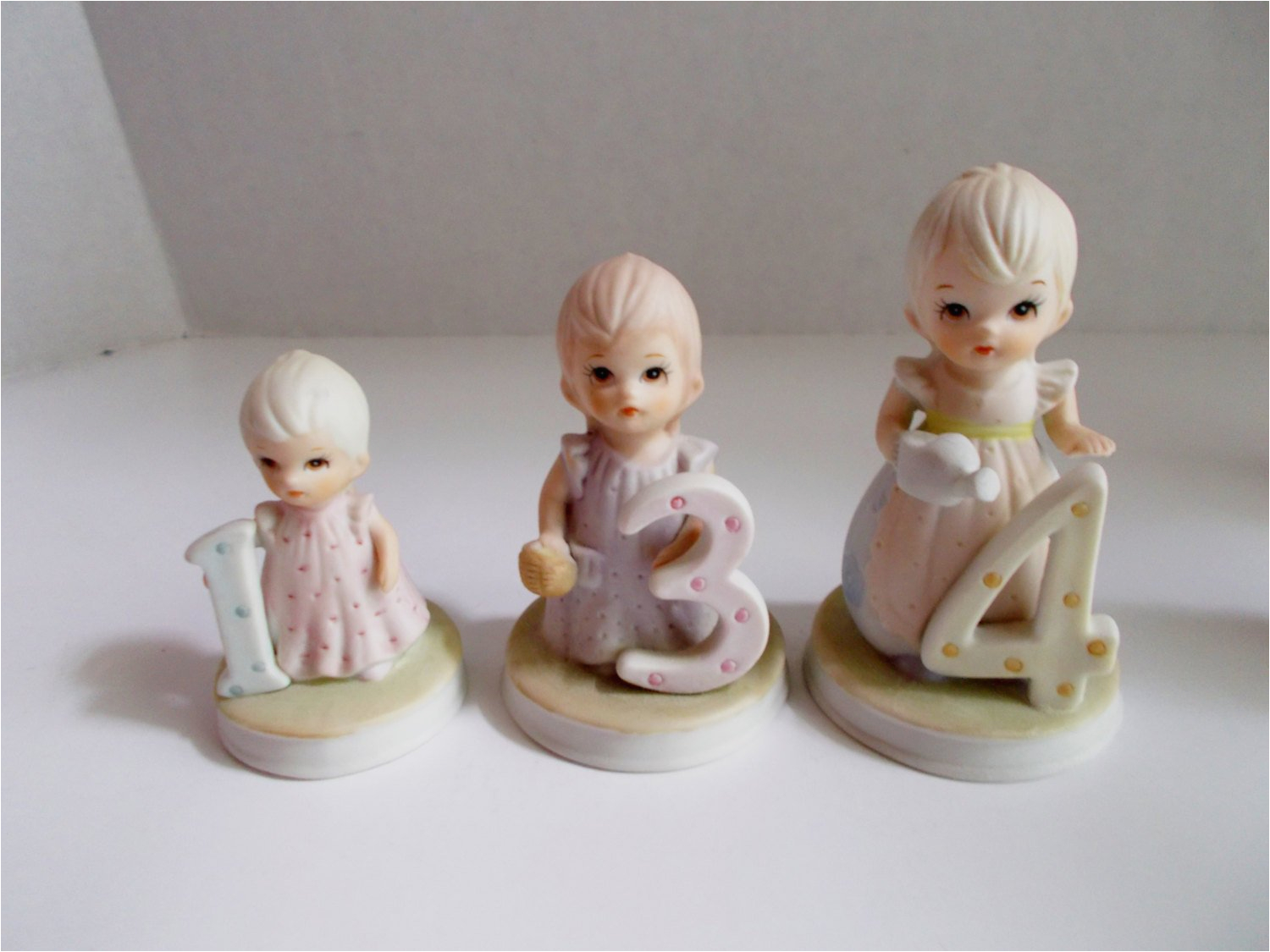 vintage lefton birthday girl figurines