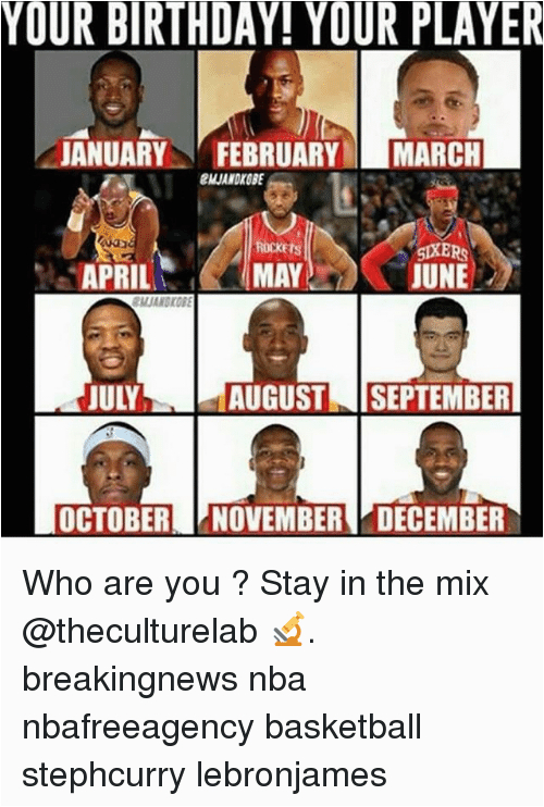 your birthday your player januaryfebruary march mjandkgbe rockets aprilmay mayjune 16287944