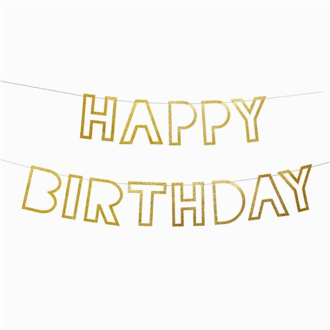 meri meri garland happy birthday glitter gold