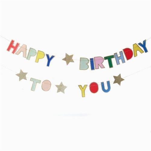 meri meri multicolor glittered happy birthday banner ap b011m8xgiq