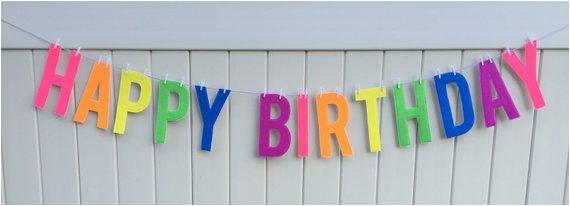 6 neon felt happy birthday banner