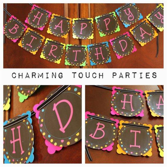custom neon happy birthday banner