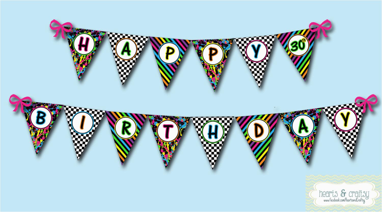 neon 80s party happy birthday banner