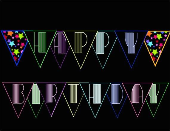neon glow black light happy birthday