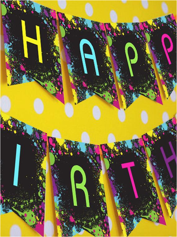 Neon Happy Birthday Banner Neon Glow Party Happy Birthday Banner Instantly