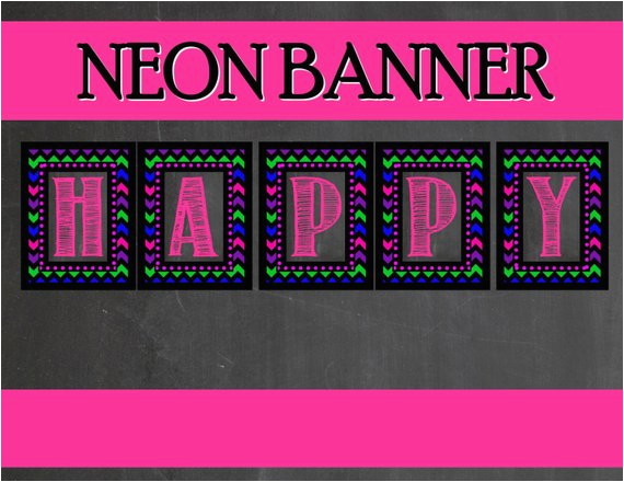 neon party banner teen party printables