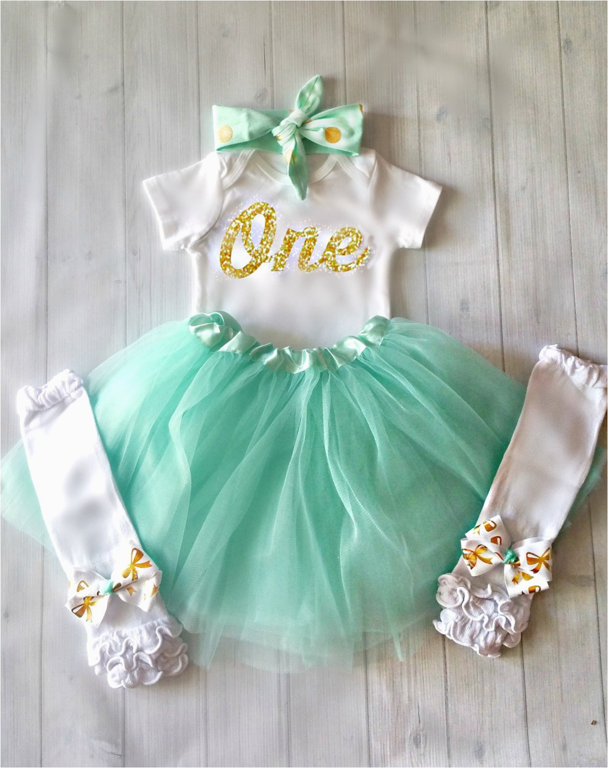 first birthday outfit girlmint and gold