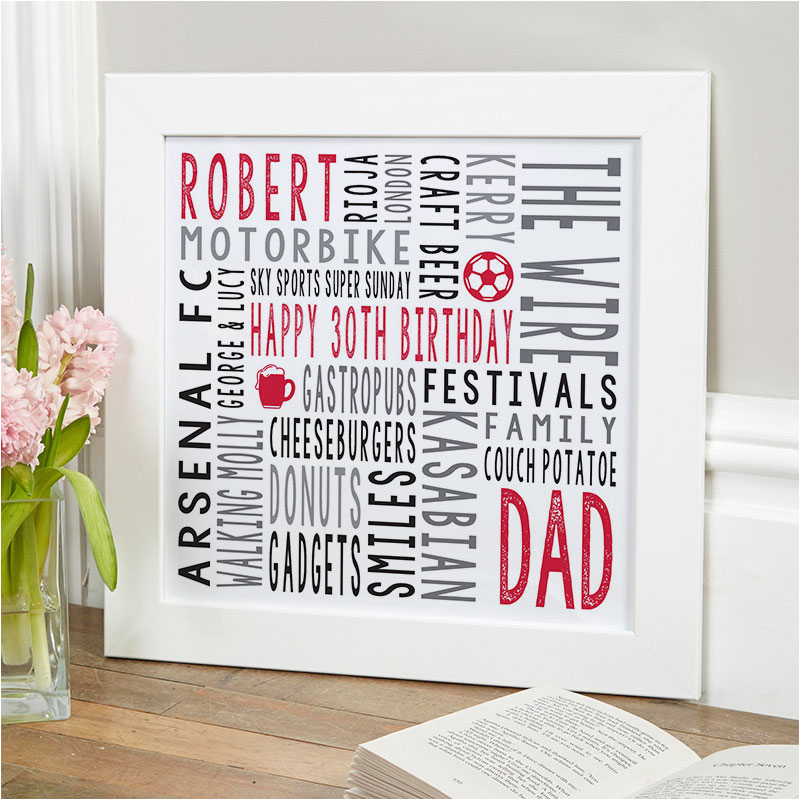 30th birthday gift for him personalised square word art print