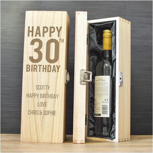 happy 30th birthday personalised wine box p 1480