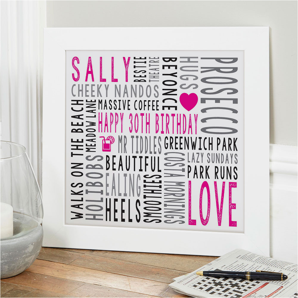 30th birthday gift for her personalised square word art print