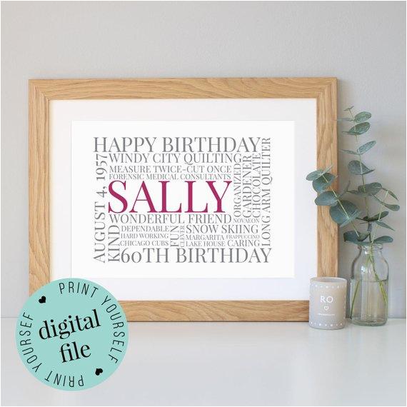 personalised 60th birthday gift word art