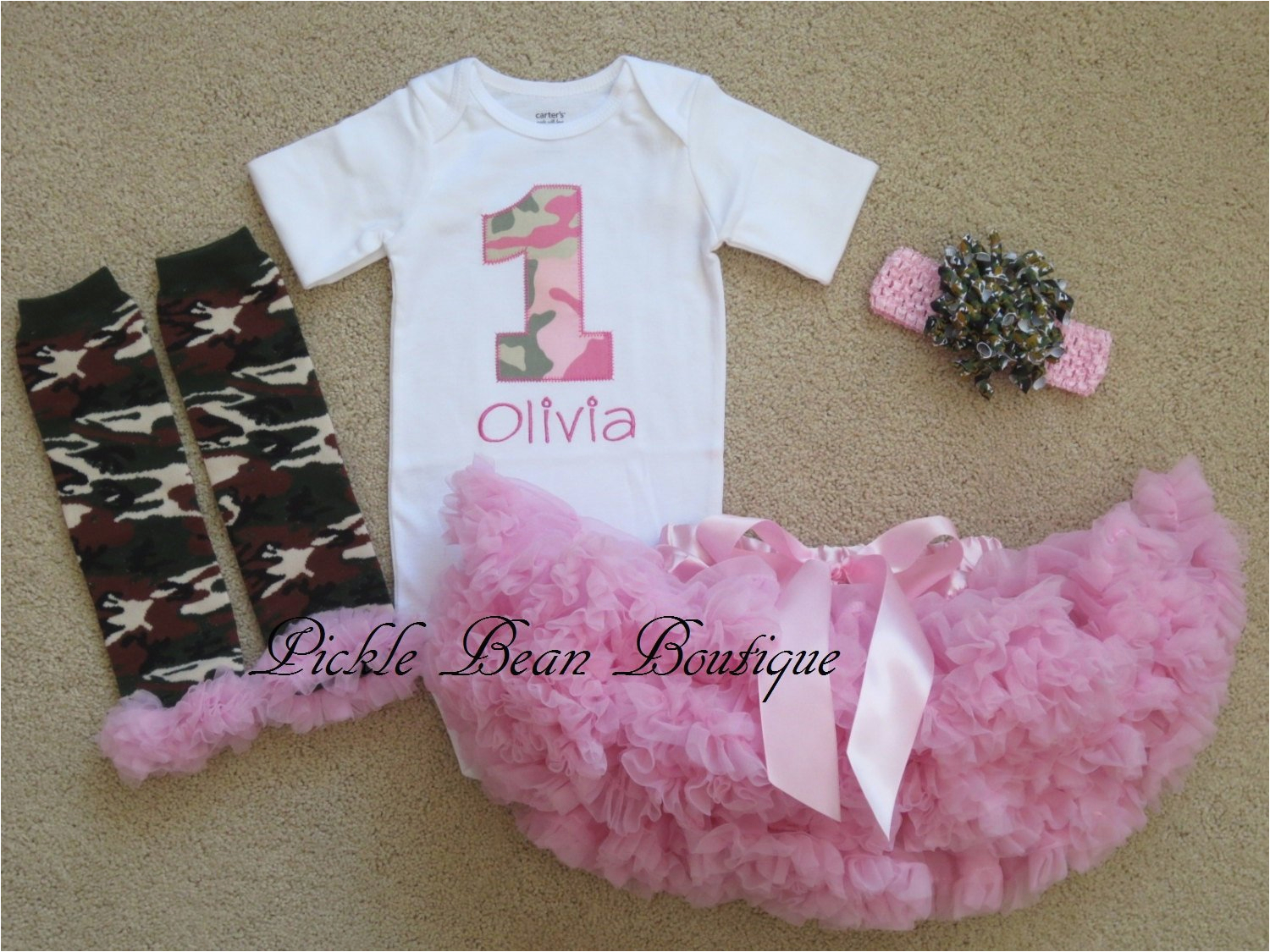 pink camo baby girl 1st birthday outfit