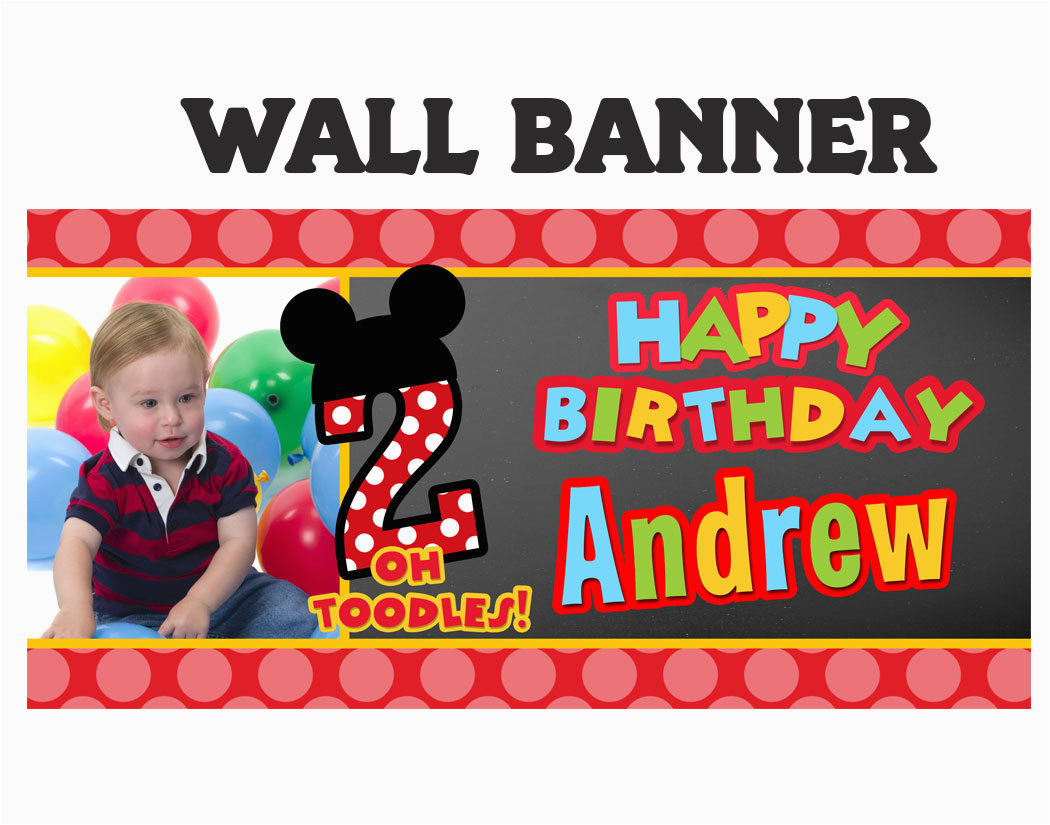 mickey mouse birthday banner personalize