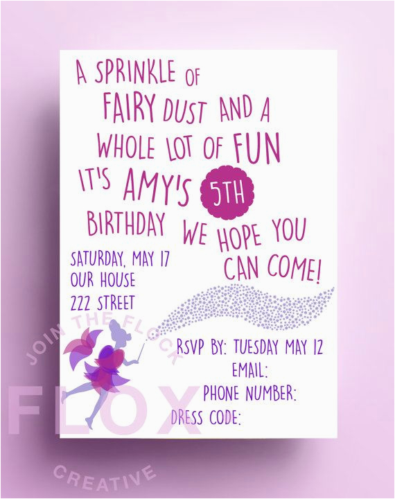 Poem On Birthday Girl Fairy Birthday Party Invitation Download Pdf Personalised