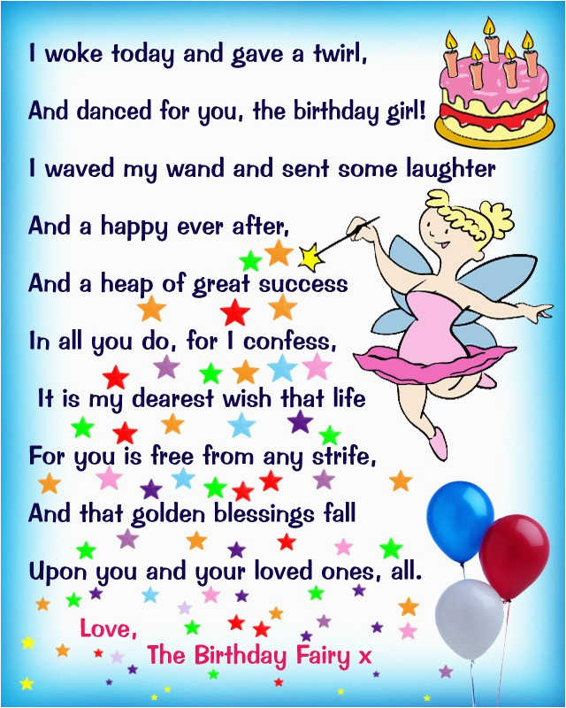 birthday fairy poem message for a girl