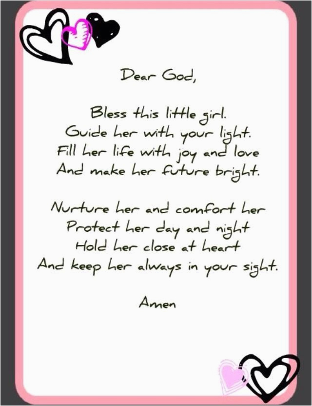 Prayer for A Birthday Girl Little Girl Prayer Prayers Angel Prayers Baby Girl