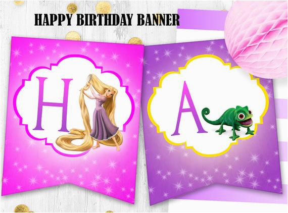 rapunzel birthday banner tangled happy