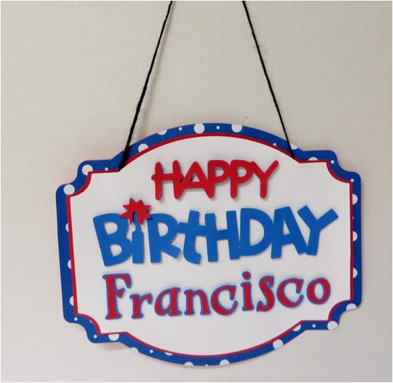 red white blue happy birthday banner or