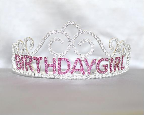 birthday girl tiara with pink