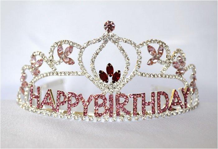 flower birthday girl tiara with pink