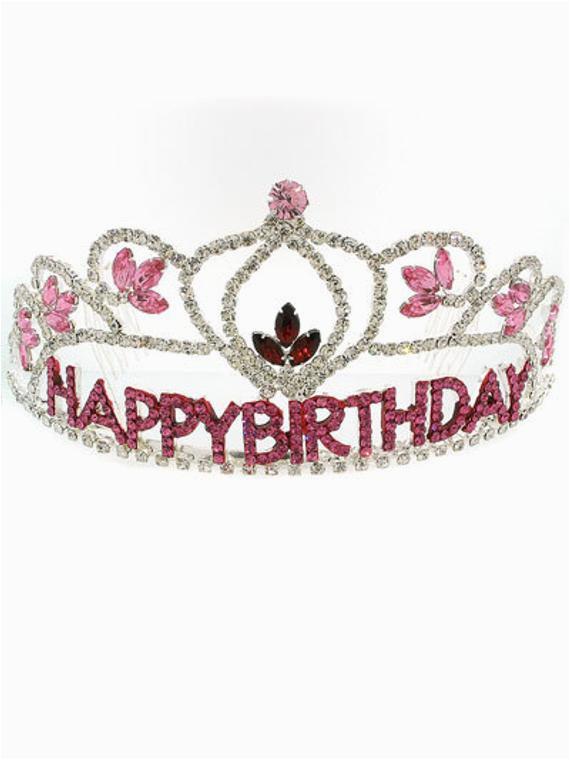 rhinestone tiara birthday crown pink