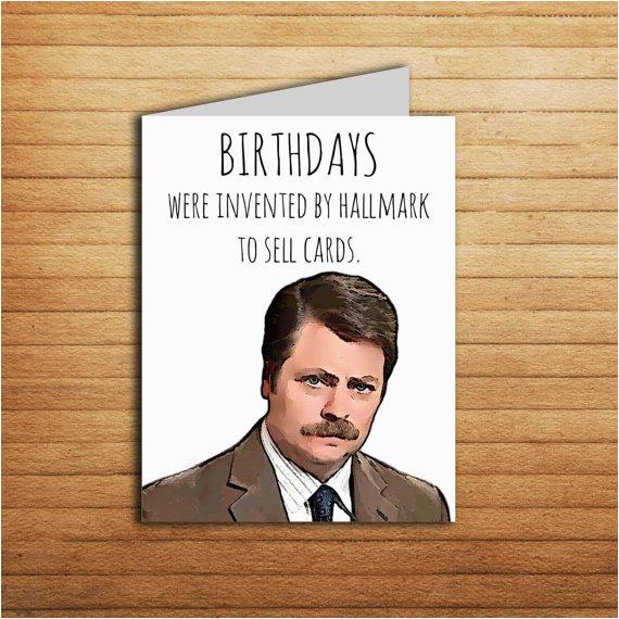 ron swanson birthday card printable