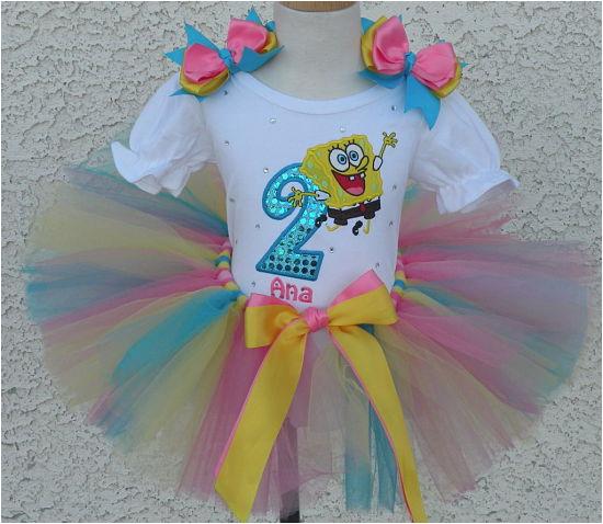 girls spongebob birthday quick ship tutu set