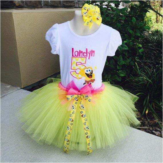 spongebob birthday tutu set outfit with