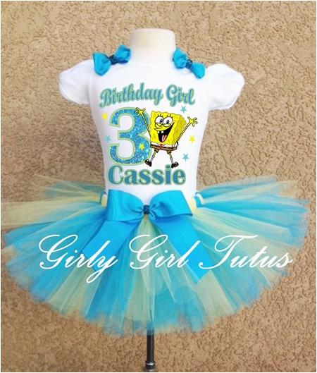 spongebob girls blue yellow birthday tutu outfit