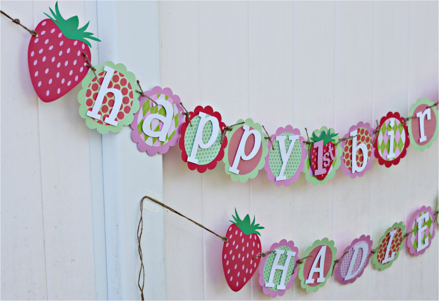 personalized strawberry birthday banner