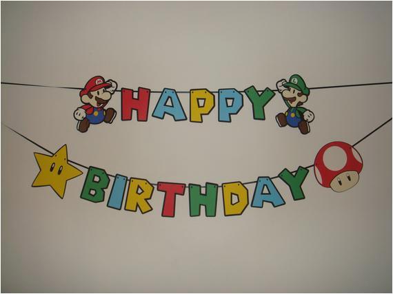 mario happy birthday party wall