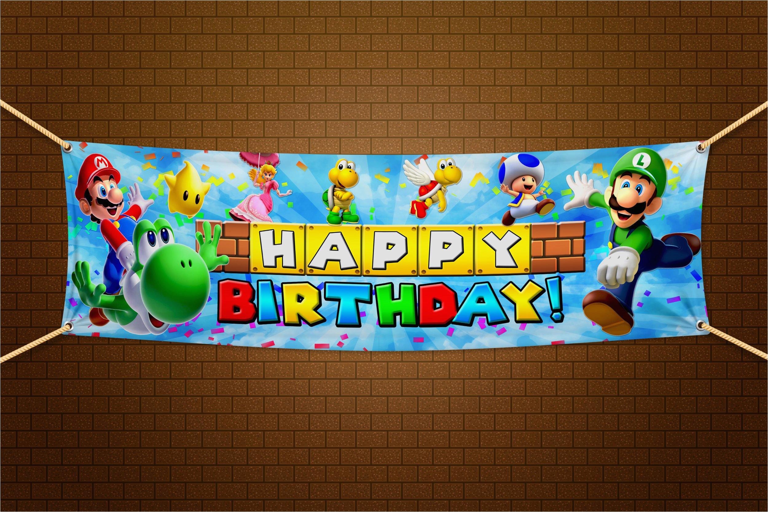 super mario bros happy birthday banner