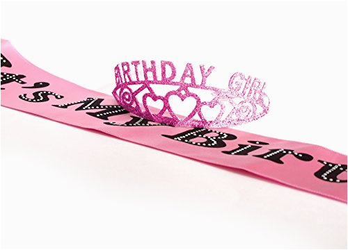 23998468 pink birthday girl glitter tiara and it s my birthday party sash by express novelties online