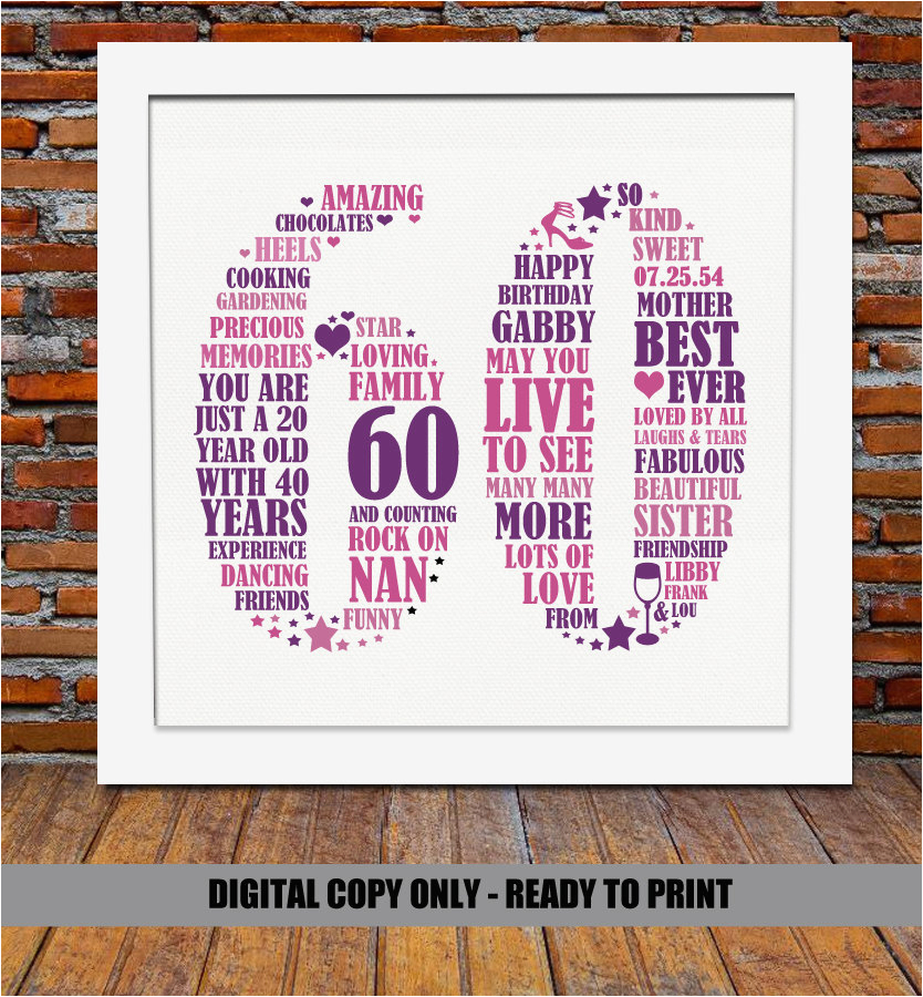 personalized 60th birthday gift 60th