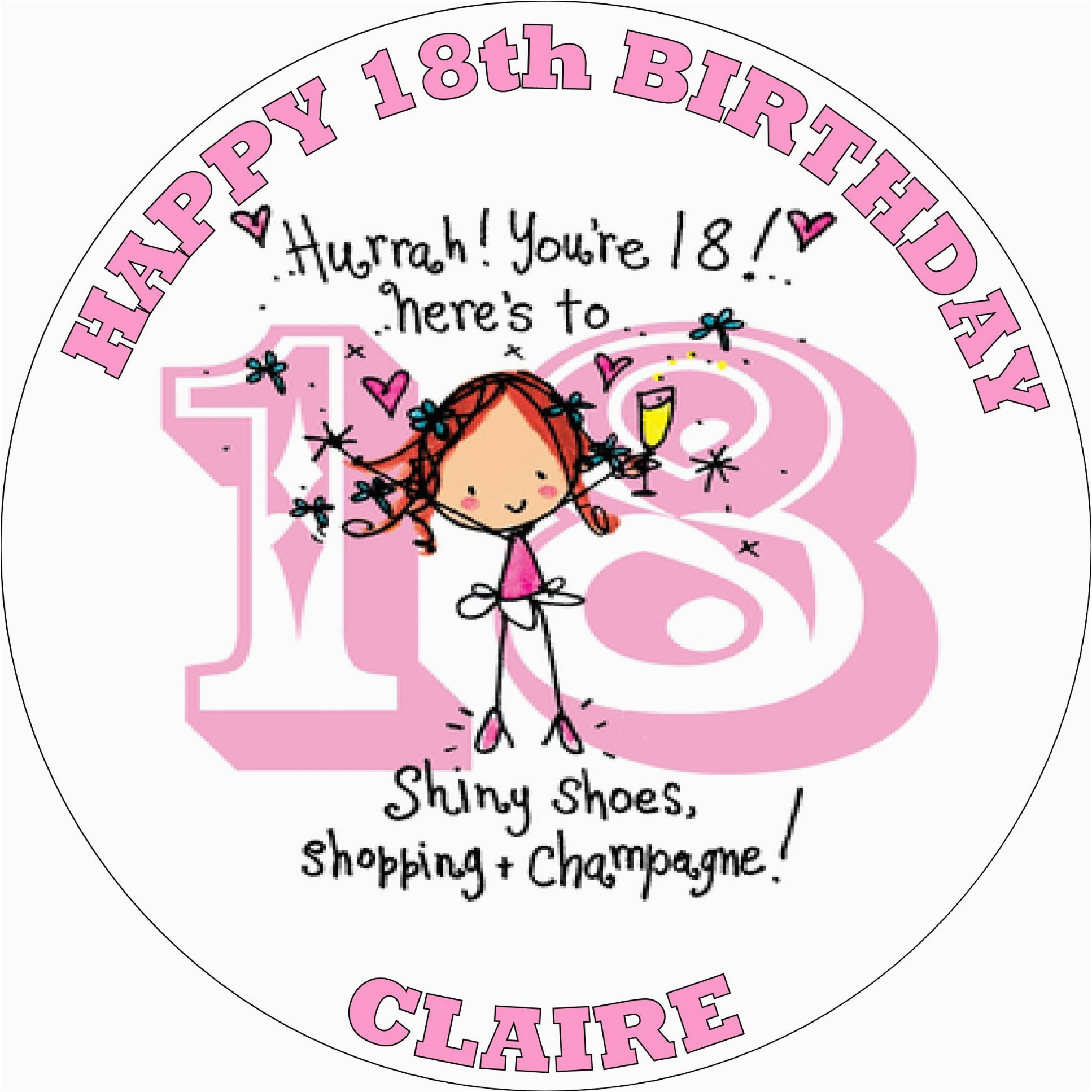 happy 18th birthday girl edible cake topper 1069 p