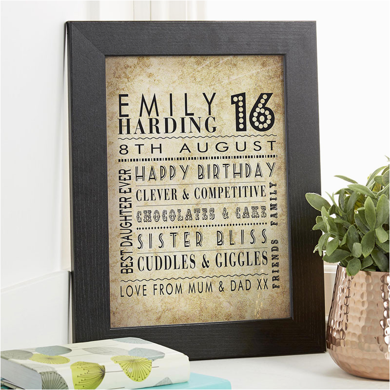 16th birthday gift idea personalised age print for girls