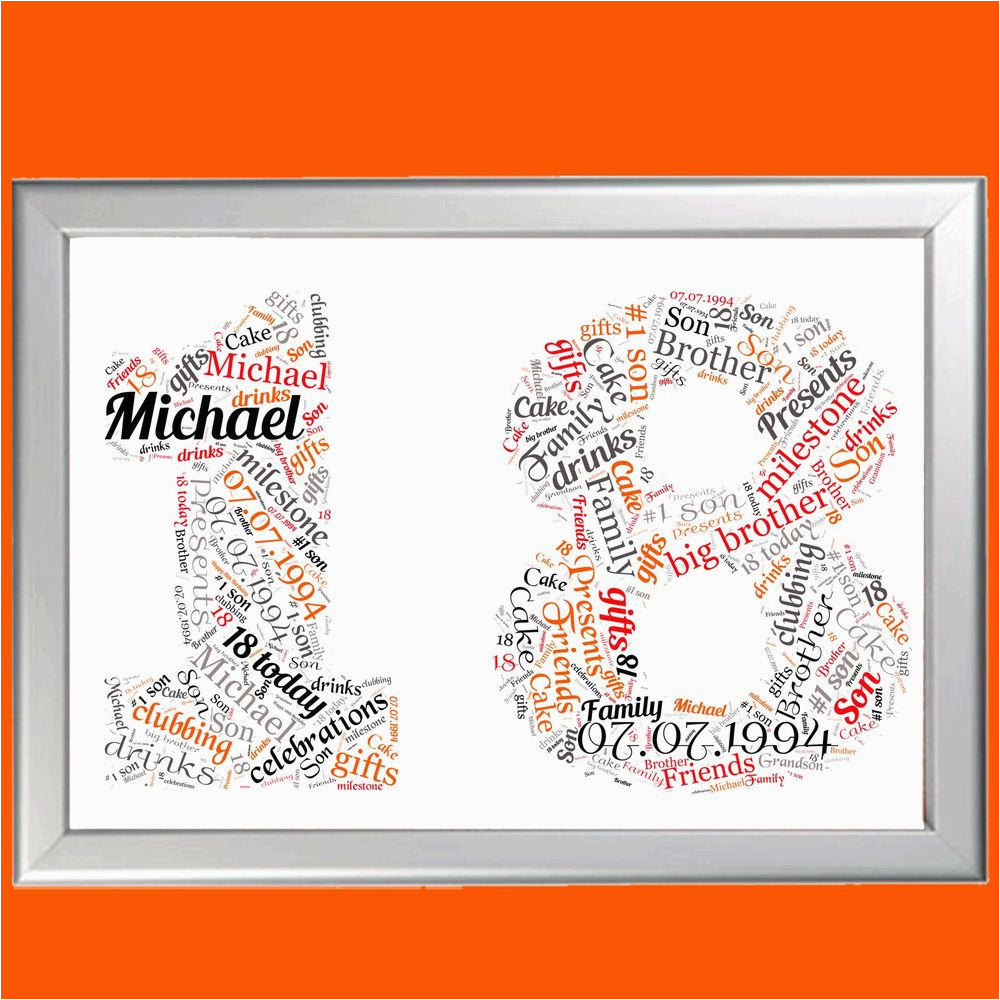 18th Birthday Gifts for Him Uk Personalised Birthday Gift 18 18th Eighteen Eighteenth
