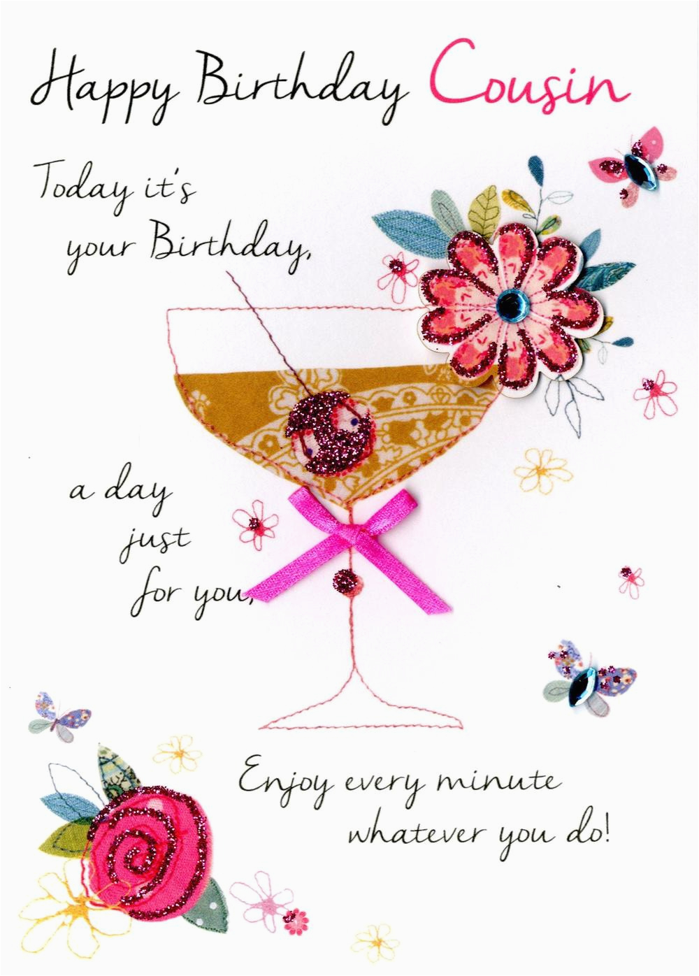 kcsnjt049 female cousin happy birthday greeting card second nature just to say cards