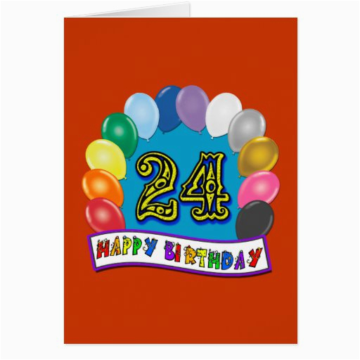 24th birthday gifts with assorted balloons design card 137294844333202597