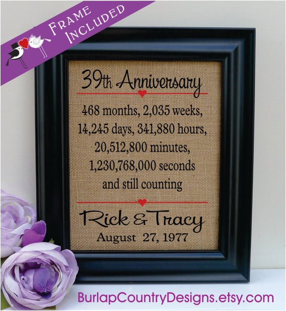 39th Birthday Gift Ideas for Him Items Similar to 39th Anniversary 39th Wedding
