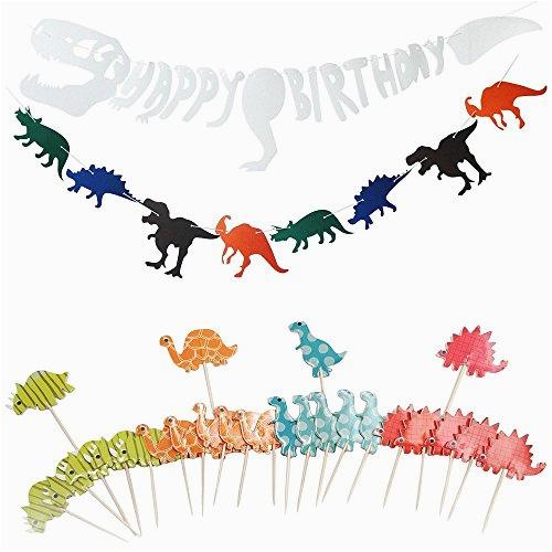 yosmi dinosaur birthday party supplies dinosaur happy birthday banner cake topper for kids birthday