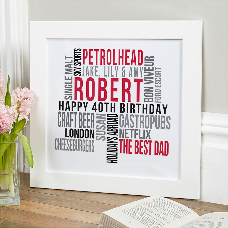 personalised 40th birthday likes print for him