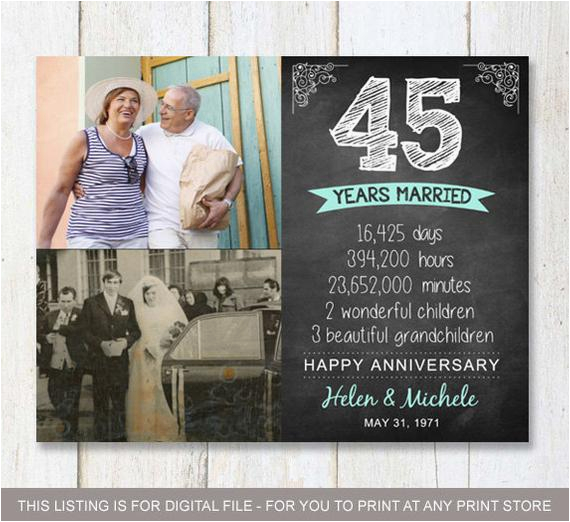 45th anniversary gift for wife husband