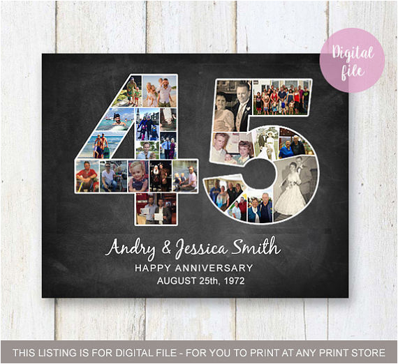 photo collage 45th anniversary gift for