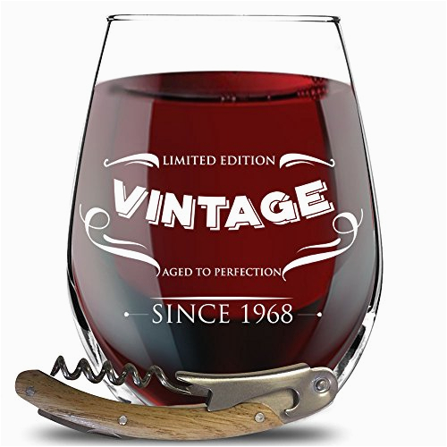1968 50th birthday gifts for women men funny party decorations for 50 years old stemless wine glass for her him husband or wife vintage 50th anniversary gifts for dad and mom bottle opener